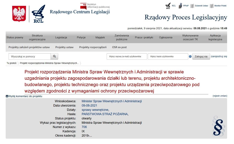 Projekt rozporządzenia MSWiA w sprawie uzgadniania projektów